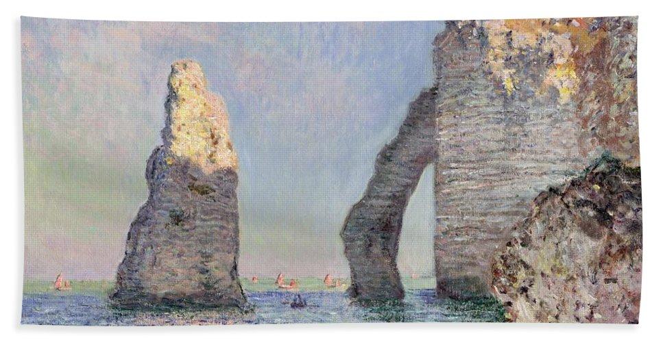 The Cliffs At Etretat Bath Towel featuring the painting The Cliffs At Etretat by Claude Monet