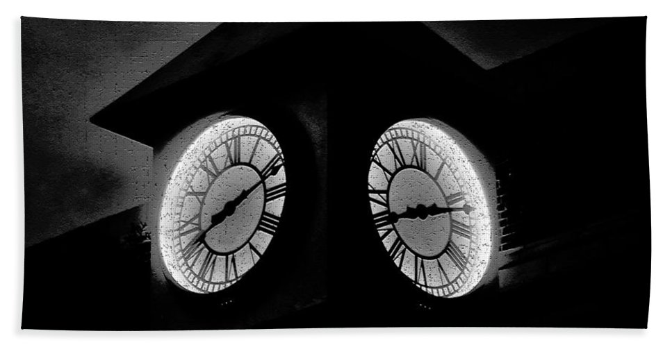 Clock Hand Towel featuring the painting The Clock Tower by David Lee Thompson