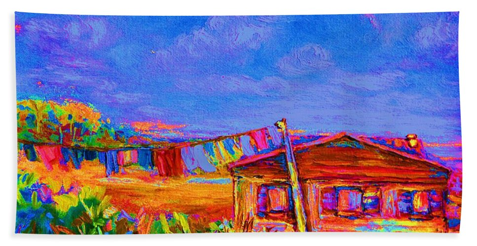Clothesline Scenes Hand Towel featuring the painting The Clothesline by Carole Spandau