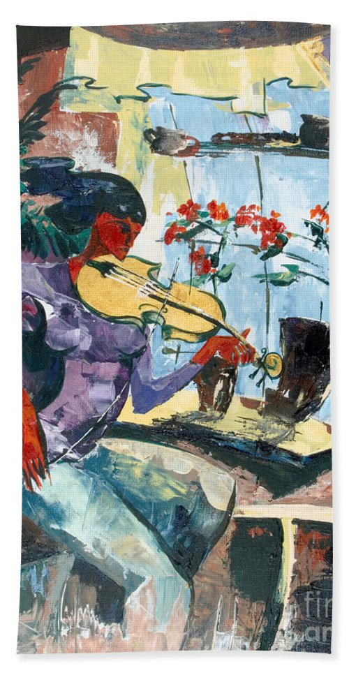 Music Bath Towel featuring the painting The Color Of Music by Elisabeta Hermann
