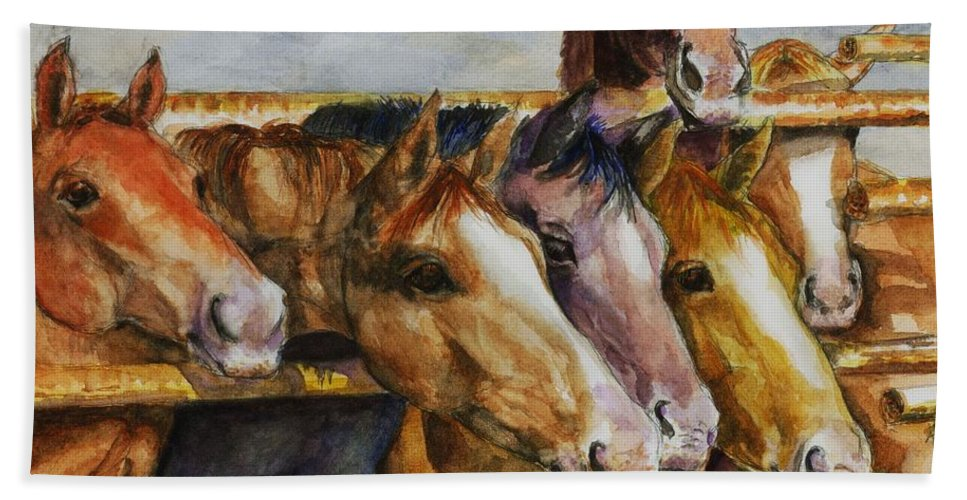 Horses Bath Sheet featuring the painting The Colorado Horse Rescue by Frances Marino