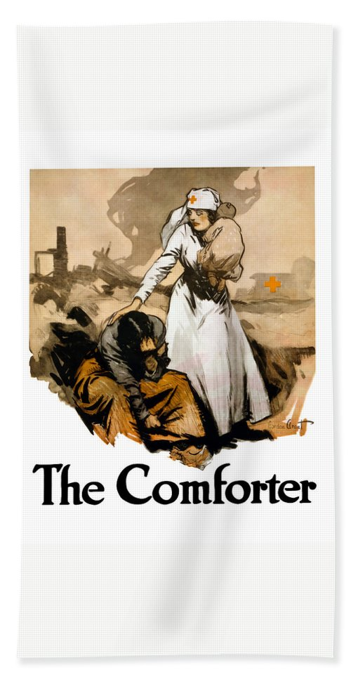Ww1 Bath Towel featuring the painting The Comforter - World War One Nurse by War Is Hell Store