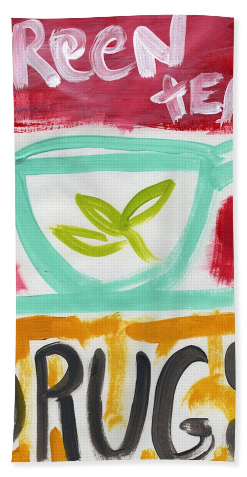 Green Tea Bath Sheet featuring the painting The Common Cure- Abstract Expressionist Art by Linda Woods