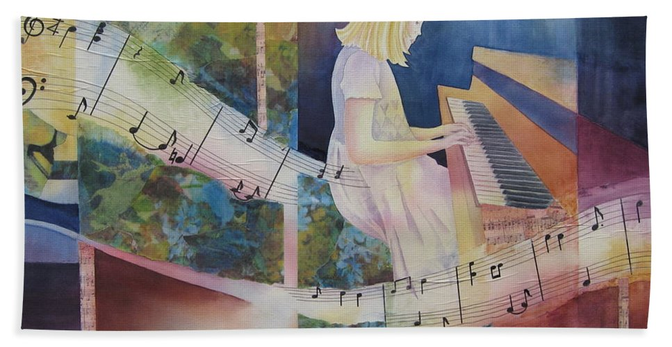 Music Bath Sheet featuring the painting The Composition by Deborah Ronglien
