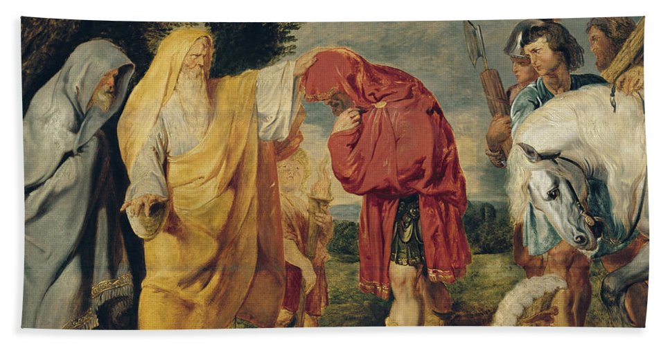 Peter Paul Rubens Hand Towel featuring the painting The Consecration Of Decius Mus by Peter Paul Rubens
