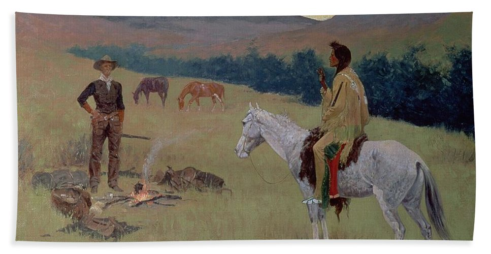 The Conversation Bath Towel featuring the painting The Conversation by Frederic Remington