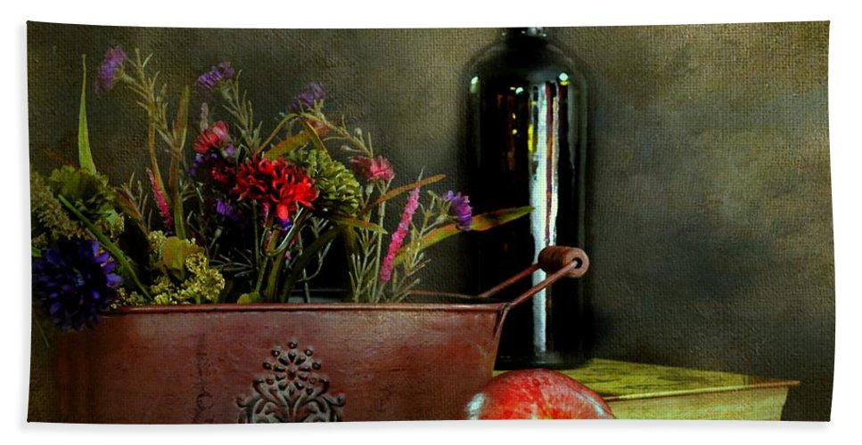 Flowers Hand Towel featuring the photograph The Copper Planter by Diana Angstadt