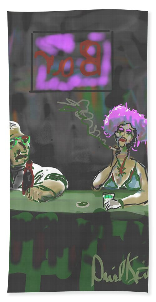 Neighborhood Bar Saloon Late Night Alcohol Beer Dingy Pick Up Conversation Bath Sheet featuring the digital art The Corner Bar by David R Keith