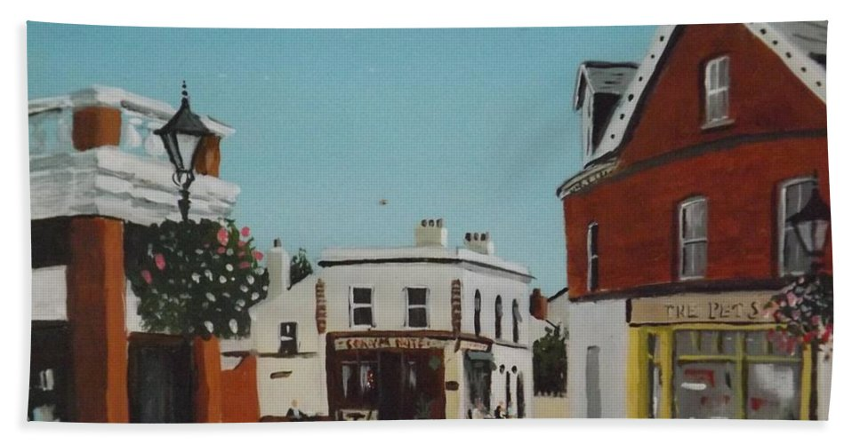 Dalkey Hand Towel featuring the painting The Corner Note, Dalkey by Tony Gunning