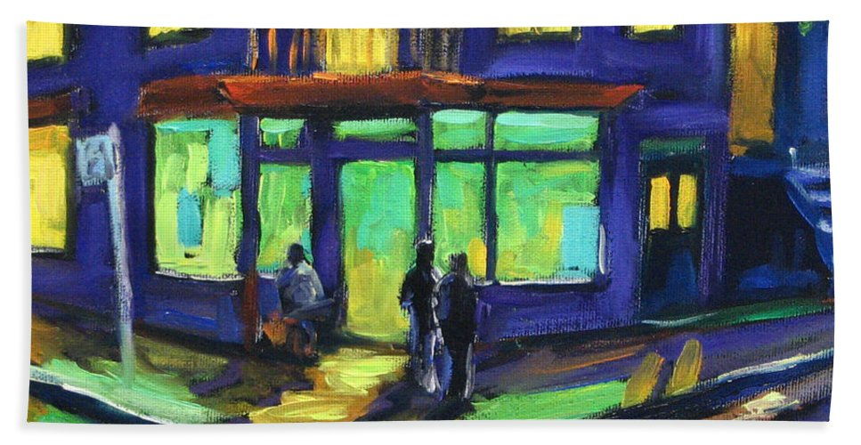 Town Hand Towel featuring the painting The Corner Store by Richard T Pranke