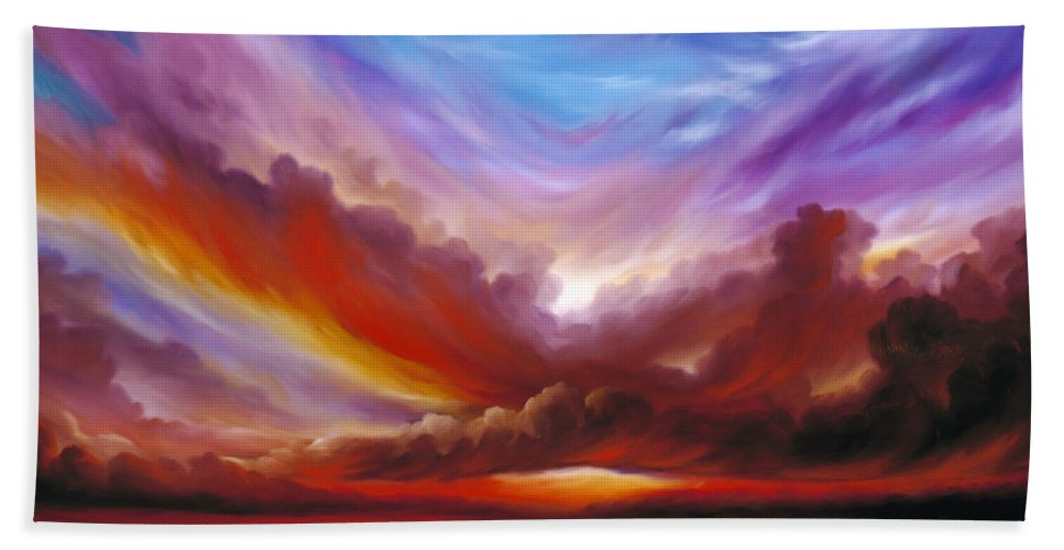 Skyscape Bath Towel featuring the painting The Cosmic Storm II by James Christopher Hill