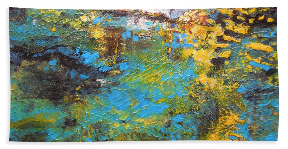 Water Hand Towel featuring the painting The Cottage By The Lagoon by Miki De Goodaboom
