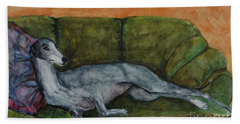 Greyhounds Bath Sheet featuring the painting The Couch Potatoe by Frances Marino