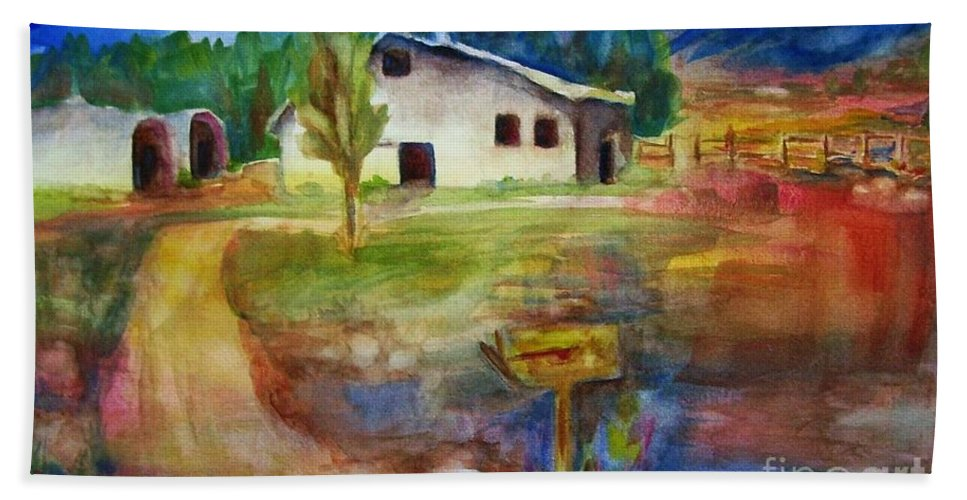 Country Barn Bath Towel featuring the painting The Country Barn by Frances Marino