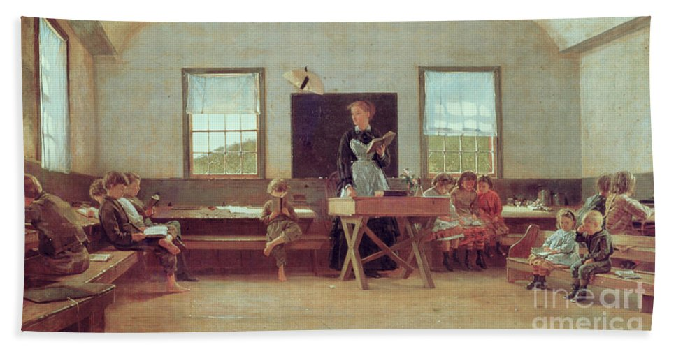 The Country School Bath Sheet featuring the painting The Country School by Winslow Homer