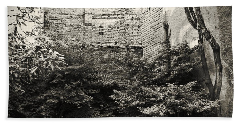 Tree Bath Towel featuring the photograph The Courtyard by Dorit Fuhg