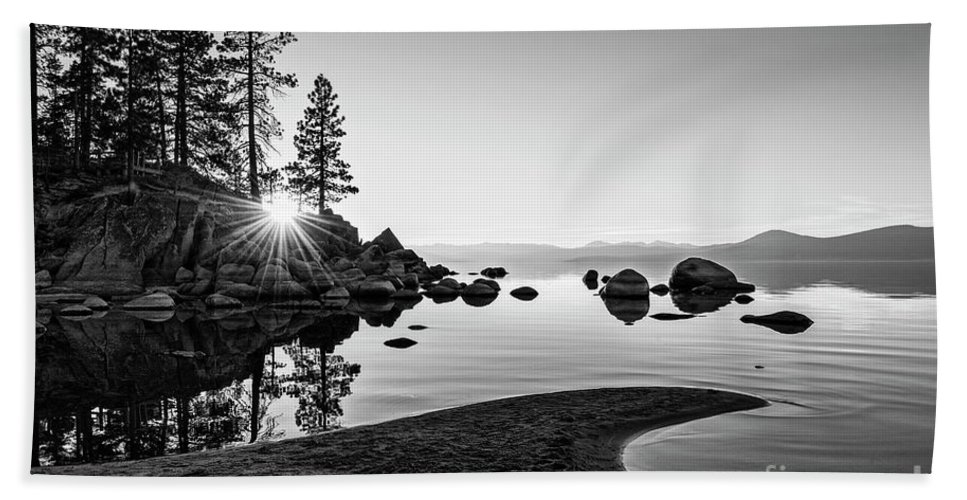 Sand Harbor Bath Sheet featuring the photograph The Cove by Jamie Pham