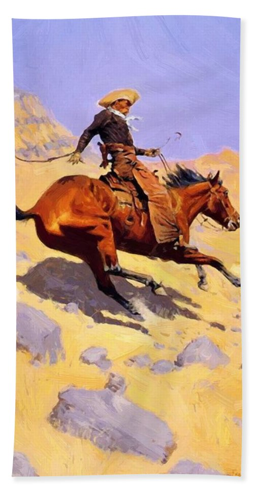 The Hand Towel featuring the painting The Cowboy 1902 by Remington Frederic