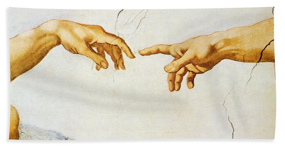 The Hand Towel featuring the painting The Creation Of Adam by Michelangelo Buonarroti