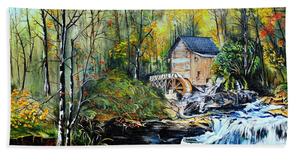 Creek Hand Towel featuring the painting Glade Creek by Farzali Babekhan