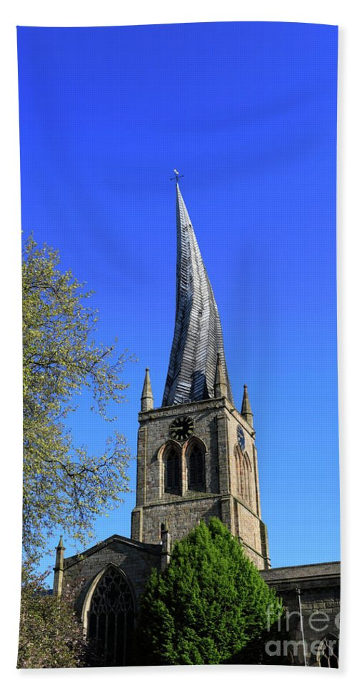 Crooked Hand Towel featuring the photograph The Crooked Spire Of St Mary And All Saints Church, Chesterfield by Dave Porter