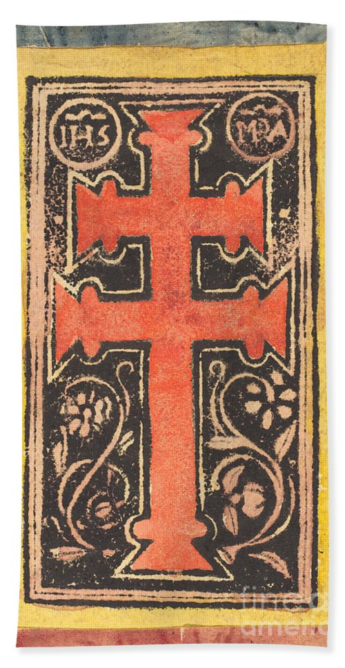 Hand Towel featuring the drawing The Cross by German 15th Century