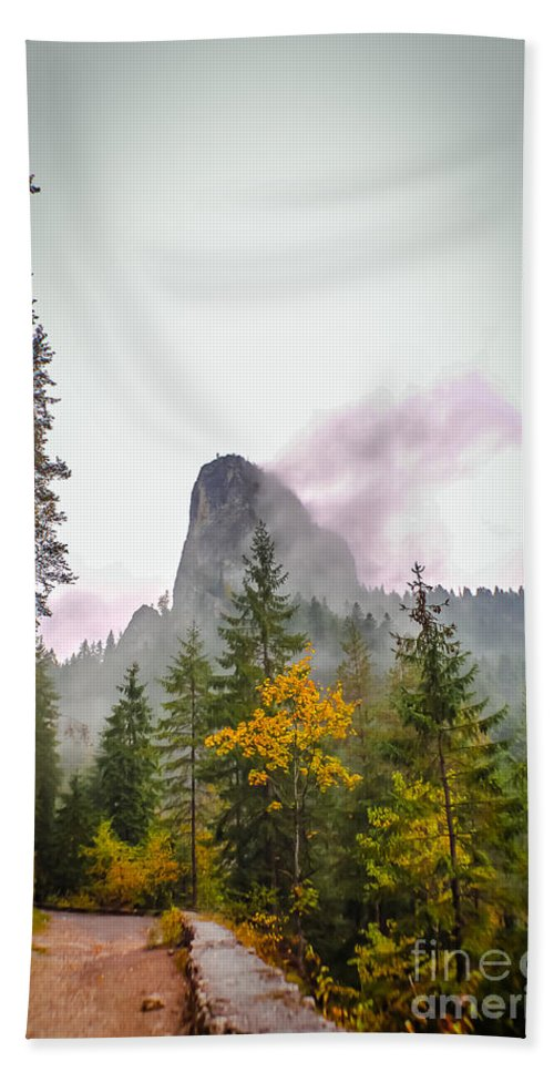 Mountains Bath Sheet featuring the photograph The Cross On The Top Of The Mountain by Claudia M Photography
