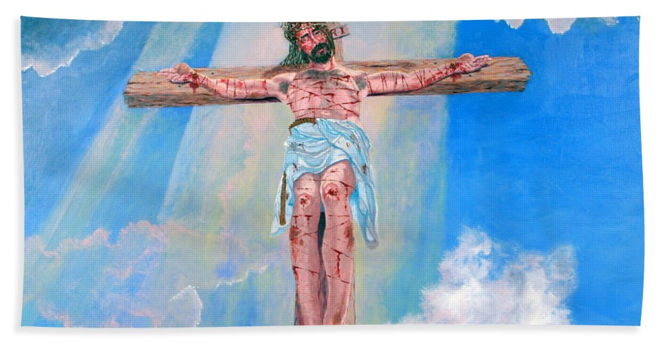 Christian Bath Towel featuring the painting The Crucifixion Daytime by Stan Hamilton