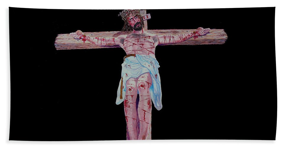 Crucifixion Bath Sheet featuring the painting The Crucifixion by Stan Hamilton