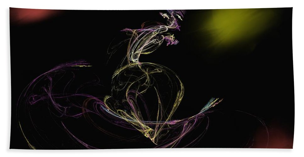 Abstract Digital Photo Bath Towel featuring the digital art The Dance by David Lane