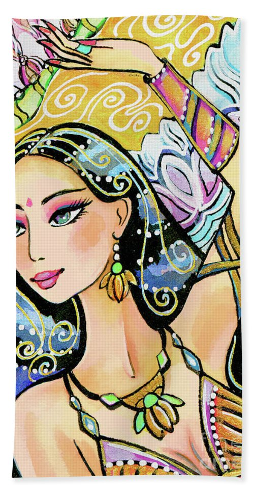 Belly Dancer Bath Towel featuring the painting The Dance Of Daksha by Eva Campbell