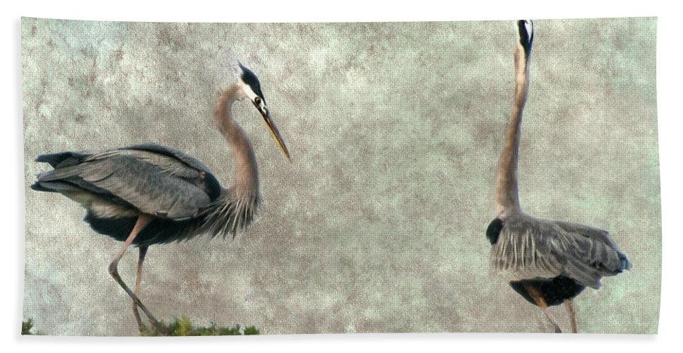 Bird Hand Towel featuring the photograph The Dance Of Life - Great Blue Herons In Mating Ritual - Digital Painting by Mitch Spence