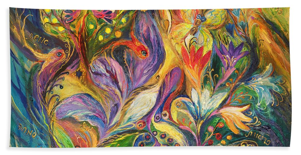 Original Bath Sheet featuring the painting The Dance Of Lilies by Elena Kotliarker