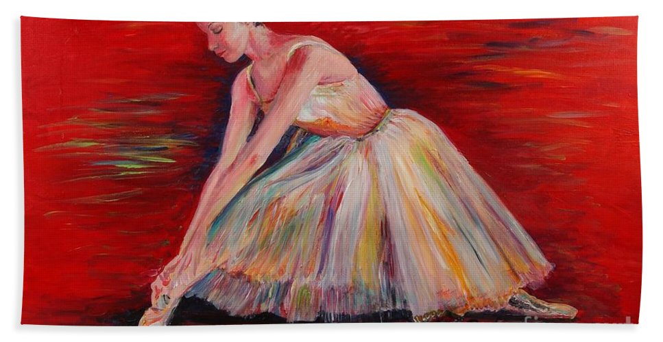 Dancer Hand Towel featuring the painting The Dancer by Nadine Rippelmeyer