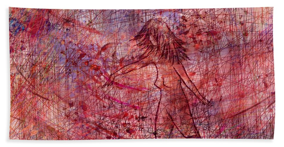 Abstract Hand Towel featuring the digital art The Dancer by Rachel Christine Nowicki