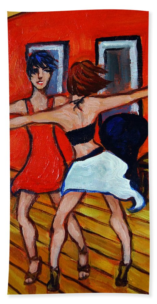 Dancers Hand Towel featuring the painting The Dancers by Valerie Vescovi