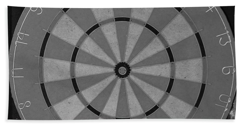 Macro Bath Towel featuring the photograph The Dart Board In Black And White by Rob Hans