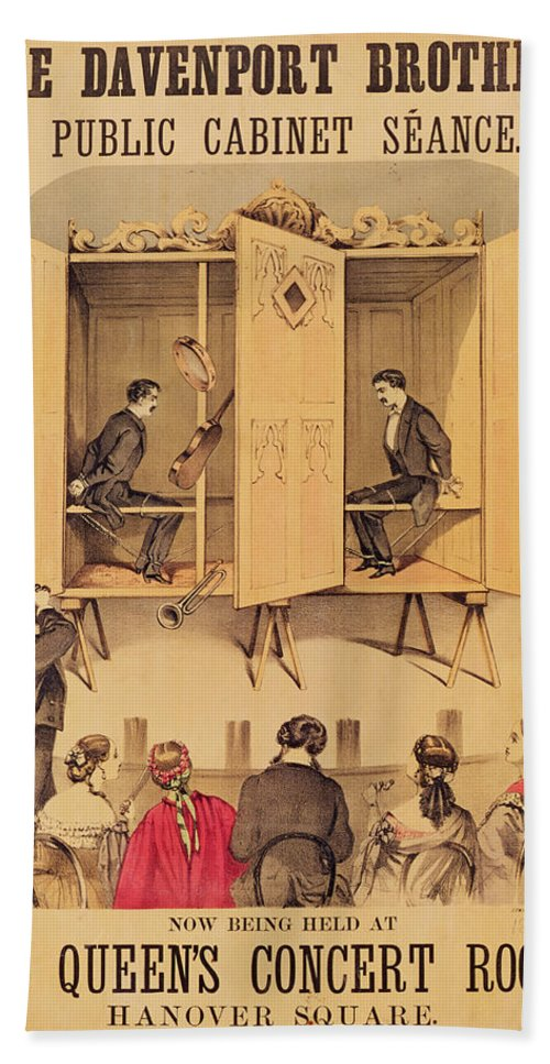 Magic Hand Towel featuring the painting The Davenport Brothers by English School