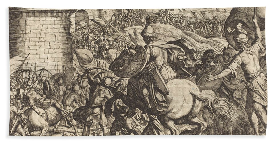 Hand Towel featuring the drawing The Death Of Abimelech by Antonio Tempesta
