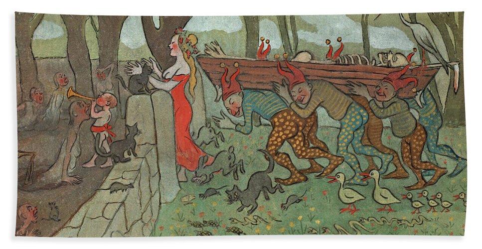 Ivar Arosenius Hand Towel featuring the drawing The Death Of Death by Ivar Arosenius