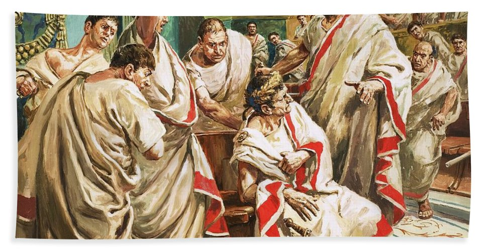 Julius Caesar; Rome; Senate; Senators; Assassination; Murder; Knife; Ides Of March Bath Sheet featuring the painting The Death Of Julius Caesar by C L Doughty