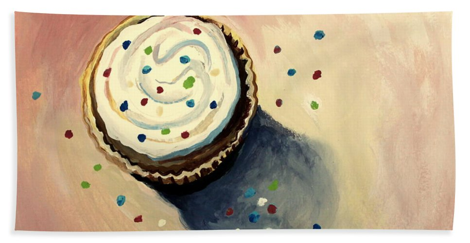 Cupcakes Bath Sheet featuring the painting The Delightful Cupcake by Elizabeth Robinette Tyndall