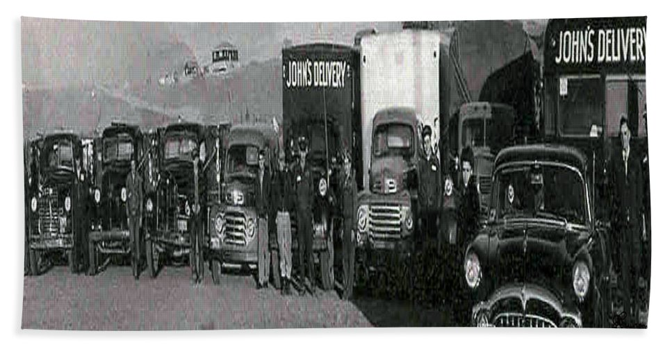 Old Photo Black And White Classic Saskatchewan Pioneers History Old Trucks Bath Sheet featuring the photograph The Delivery Company by Andrea Lawrence