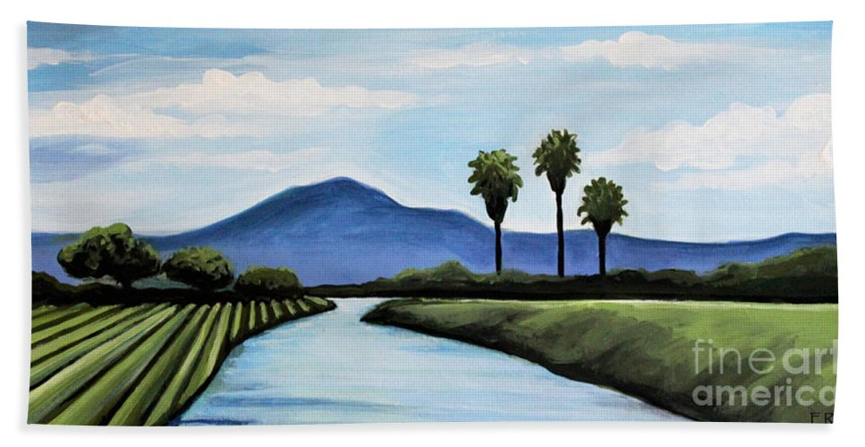 Landscape Bath Sheet featuring the painting The Delta by Elizabeth Robinette Tyndall