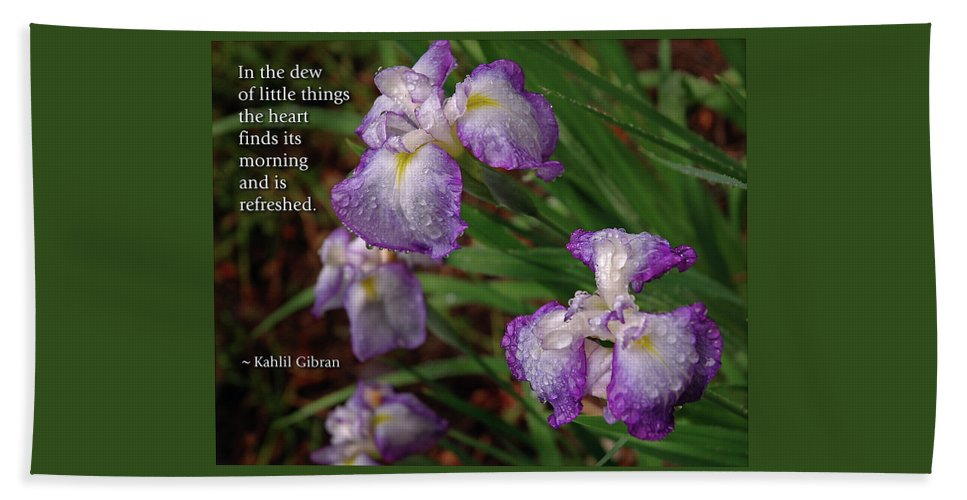 Iris Hand Towel featuring the photograph The Dew Of Little Things by Marie Hicks