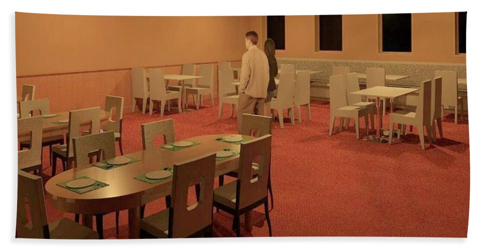 Rendering Hand Towel featuring the digital art The Dining Room by Ron Bissett