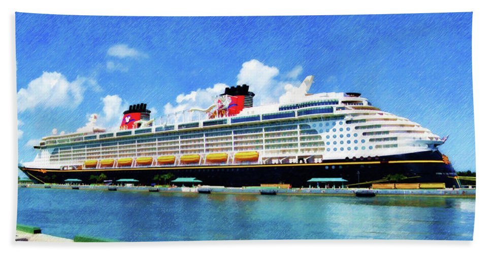 Disney Dream Hand Towel featuring the painting The Disney Dream in Nassau by Sandy MacGowan