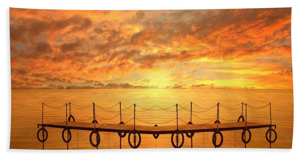 Waterscape Bath Sheet featuring the photograph The Dock by Jacky Gerritsen