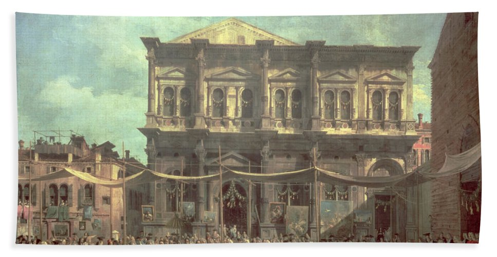 The Doge Visiting The Church And Scuola Di San Rocco Hand Towel featuring the painting The Doge Visiting The Church And Scuola Di San Rocco by Canaletto