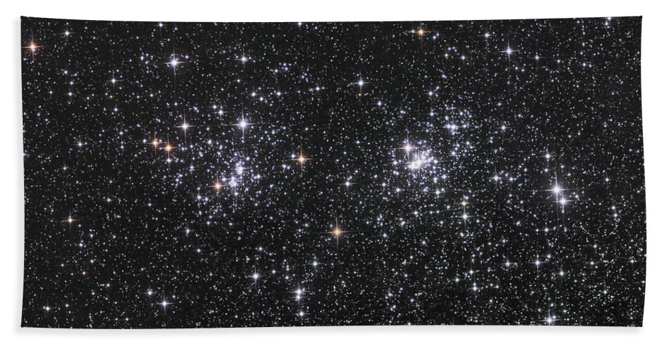Astronomy Bath Sheet featuring the photograph The Double Cluster, Ngc 884 And Ngc 869 by Robert Gendler